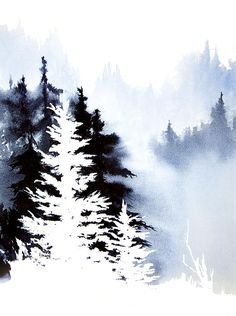 Negative trees. Forest Indigo. Watercolor, 11 x 15