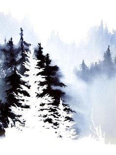 Negative trees. Forest Indigo. Watercolor, 11 x 15