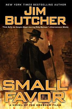 Small Favor - Book 10 of the Dresden Files series by Jim Butcher. Harry Dresden has had one quiet -- make that dull -- year. For 12 whole months, nobody has tried to kill him. Just as he's settling into these doldrums, Mab, the monarch of the Winter Court of the Sidhe, calls him in for a small favor. (Favors, it seems, are the main currency of Dresden's universe.) What begins as a tip of the hat quickly escalates into deadly matters that pit Harry against two deadly foes.