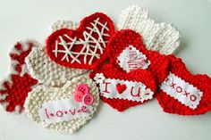 Funky crocheted hearts