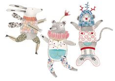 Set of 3 articulated paper puppet dolls DIY by 2Hands2Tails