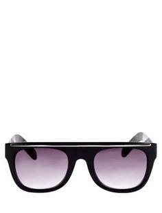 Black Flat Top Metal Bar Sunglasses  | New Look