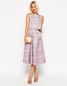 Modern Ladylike Spring Racing Fashion for Oaks Day - purple tapestry co-ord set from asos