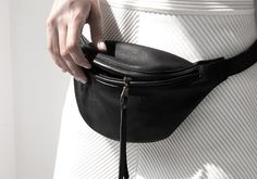 Minimal bum bag smooth black leather with brass hardware