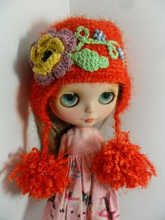 Hat Crochet with application of flower for Blythe by elenamiklo, $20.00