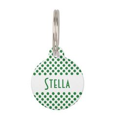 Green and White Polka Dots Pet ID Tag