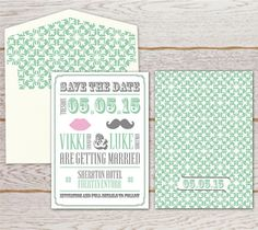 Moustache & Lips A6 Save the Date Card