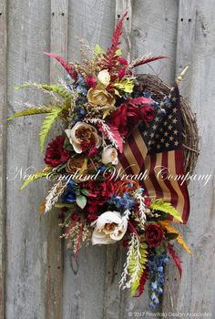 Victorian Heritage Wreath with Tea Stained Flag  ~A New England Wreath Company Designer Original~
