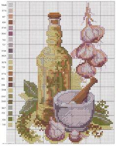 Cross Stitch Fruit, Cross Stitch Kitchen, Cross Stitch Flowers, Counted Cross Stitch Patterns, Cross Stitch Designs, Cross Stitch Embroidery, Needlepoint Designs, Diy Arts And Crafts, Cross Stitching