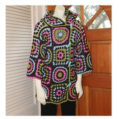 Long Crochet Doily Granny Square Colorful Black by AnnieBriggs, $290.00