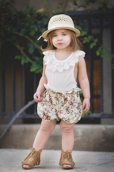 Country Girl Set Ivory Floral - Toddler & Girl Sizes!