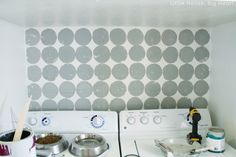 stamped wall - looks cute. from little house, big heart blog