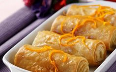 Mini galaktompoureko with orange - iCookGreek Greek Sweets, Greek Desserts, Greek Recipes, Wine Recipes, Food Network Recipes, Dessert Recipes, Cooking Recipes, Greek Pastries, Eat Greek
