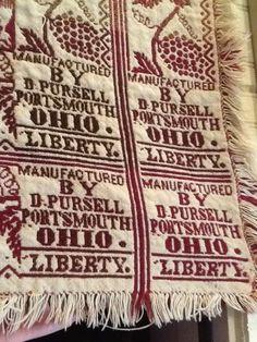 Antique Wool & Cotton Jacquard Double Woven Coverlet Pre Civil War Portsmouth OH