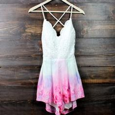 x shophearts - tie dye watercolor crochet open back romper - shophearts - 2