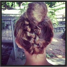 braided hair with a bun