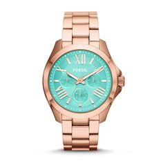 My new love   Fossil Cecile Multifunction Stainless Steel Watch – Rose Gold and Mint AM4540 | FOSSIL®