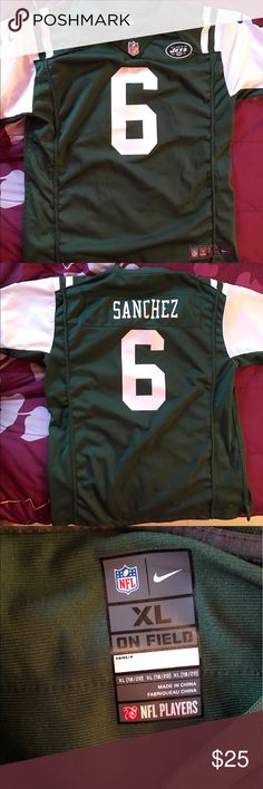 New York Jets Jersey Men's Mark Sanchez Nike Never used 💕my dad is a big fan of football but he never wears the jerseys Nike Shirts Sweatshirts & Hoodies
