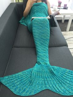 Home Decor Hollow Out Crochet Knit Mermaid Blanket in Green | Sammydress.com