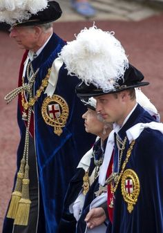 (L-R)British Royal Family... Prince Charles, HRH Queen Elizabeth and Prince William attend the annual Garter Ceremony at Windsor Castle, 17 June 2013
