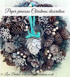 Christmas paper pinecone ornament tutorial