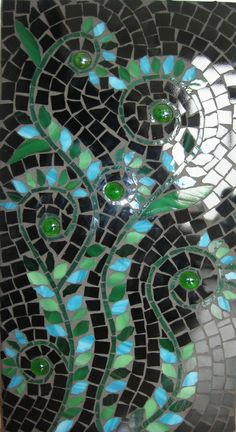 Mosaic Panel EMERALD SWIRLS by andreamosaic on Etsy, $120.00