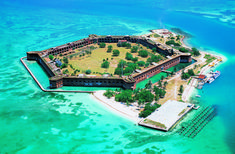 Dry Tortugas National Park is located 68 Nautical miles west of Key West, Florida