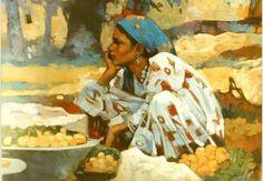 Floor Sitting, Arabian Art, Painter Artist, Egyptian Art, Watercolor Landscape, Cool Artwork, Modern Art, Art Pieces, Art Gallery