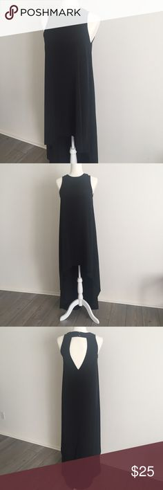 """Lulu's High Low Black High Neckline Black Dress S Worn once, high low style dress with high Neckline and open back and two bottom closure at back of neck. At its longest from back of neck to floor measures approx 58"""". 100% polyester. No trades, check out my closet or make me an offer! Lulu's Dresses High Low"""