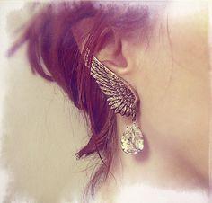 Charm Fashion Phải Đôi Cánh Thiên Thần Retro Drop Pha Lê Jewel Tassel Ear Whiite Bông Tai Trang Sức Cho Phụ Nữ Trang Sức