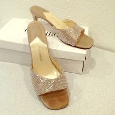 """Caparros Champagne Beaded Slides Caparros pale beige slides with sparkly baguette beading. Size 8.5, B width. Worn to wedding - some wear on soles and on toe surfaces. Heels are satin silk covered and 2 1/2"""" tall. Has box. Caparros Shoes"""