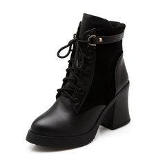 MayMeenth Women's Lace Up High Heels Round Closed Toe Boots *** Find out more about the great product at the image link.