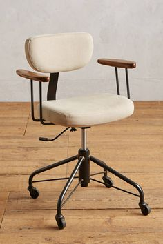 Kalmar Desk Chair by District Eight in Beige Size: All Tables at Anthropologie - Office Chairs - Ideas of Office Chairs Best Office Chair, Home Office Chairs, Home Office Furniture, Furniture For You, Furniture Stores, Rustic Furniture, Antique Furniture, Industrial Office Chairs, Furniture Shopping