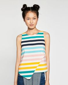 MULTICOLOURED STRIPED TOP-TOPS-TRF | ZARA United States