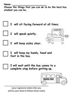 school bus safety worksheets - Google Search | Health ...