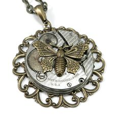 Handmade Steampunk Necklace - Glittering Gold Butterfly Necklace Clockwork Edwardian Revival Pendant Handmade by Compass Rose Design