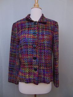 Coldwater Creek Blazer Multi Color Long Sleeve Button-Down Lined Size 6 #641 #ColdwaterCreek #Blazer