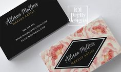 Roses business card design, flowers business card template printable business card design watercolor business card floral pink rose black