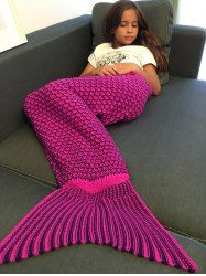 Fashionable Comfortable Drawstring Style Knitted Mermaid Design Throw Blanket (PURPLISH RED) | Sammydress.com Mobile
