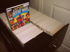 An example of using a filing cabinet to store comics books - comic book storage solutions, looks pretty