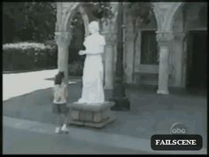 Real life Weeping Angel! I'd be even more scared than the kid... (gif)