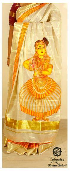 Saree Painting, Kerala Mural Painting, Dress Painting, Fabric Painting, Figure Painting, Hand Painted Sarees, Hand Painted Fabric, Mural Art, Murals