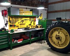 Wall Control Yellow Metal Pegboard being used here in this impressive John Deere themed workshop! Wall Control's wide range of metal pegboard colors allow you to create a theme in your workshop based on your favorite team, school, brand, or in this case, tractors! Thanks for the great customer submission Steven!