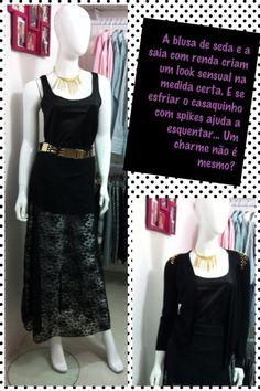 Blusa de seda preta: R$ 69,90 Saia renda preta: R$ 109,90 Cardigã com spikes preto: R$ 119,90
