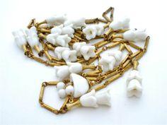 Antique Czech Glass Festoon Necklace White Flower Gilded Estate Art Deco Jewelry | eBay