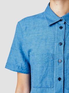 Folk Short Sleeve Shirt Bleached Denim