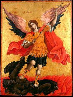San Miguel Arcángel, glorioso Príncipe Celestial, terror de los demonios, vencedor de los malos espíritus saca, corta y libera m...