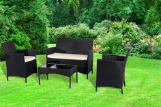 4-Piece Rattan Garden Furniture Set