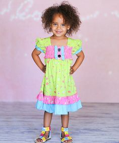 Look at this #zulilyfind! Lime Lilia Dress - Infant, Toddler & Girls by Jelly the Pug #zulilyfinds
