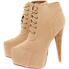 Carmel Lace Up Over The Ankle Suedette Shoe Boot ($60) ❤ liked on Polyvore